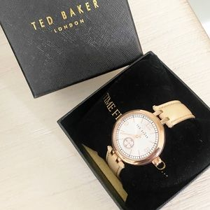 NWOT Ted Baker women's leather strap gold watch